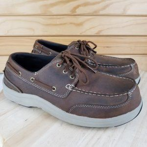 Hush Puppies Composite Toe Leather Work Safety Boat Shoes Oxfords Size 8.5 WIDE